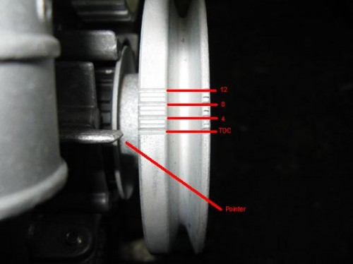 Pinto ignition timing marks on pulley ?